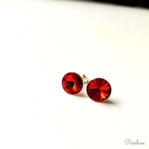 cercei cristale swarovski rosii