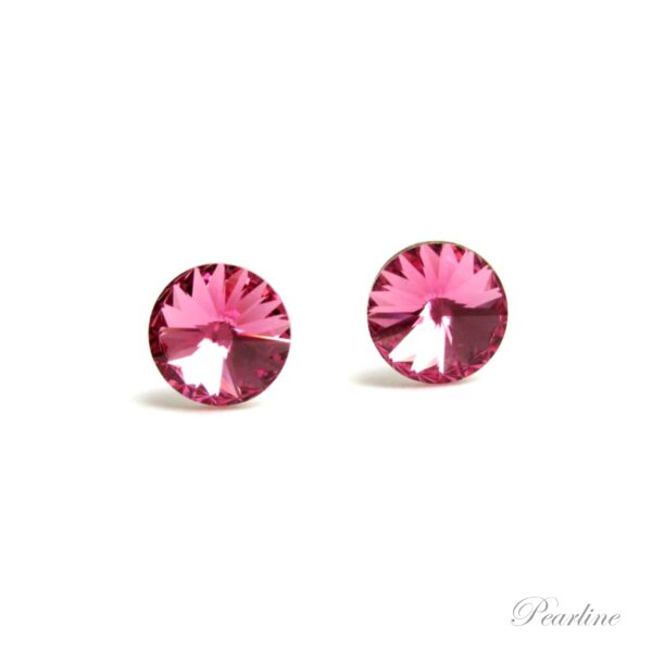 cercei argint roz swarovski