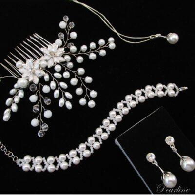 set bijuterii mireasa elegant perle