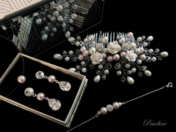 set mireasa bijuterii cu accesoriu par